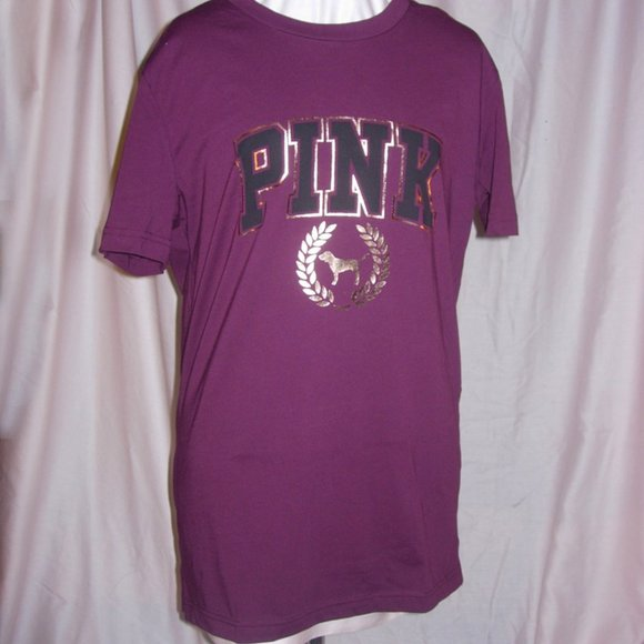 PINK VICTORIA/'S SECRET RUBY WREATH LOGO CAMPUS CREW LONG SLEEVE TEE SHIRT VS